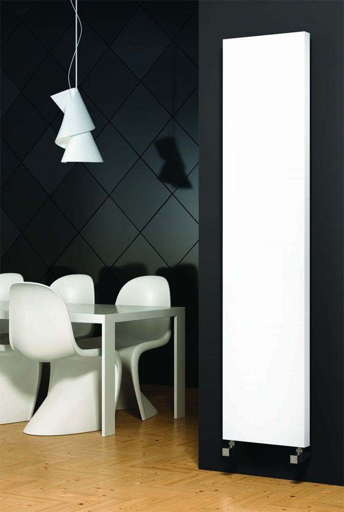 Reina Nero Steel Designer Radiator - White profile large image view 1