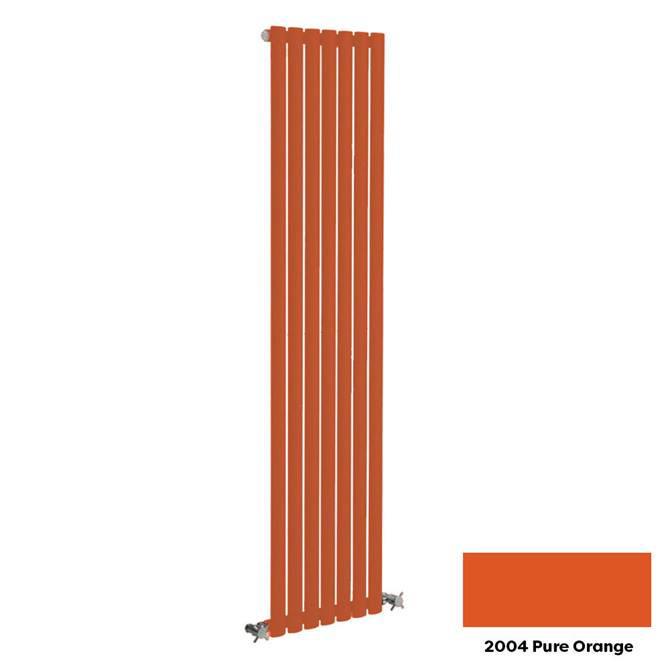 Reina Neva Vertical Single Panel Designer Radiator - 1500 x 413mm - Pure Orange