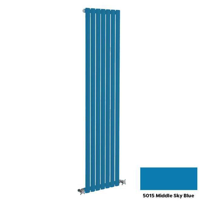 Reina Neva Vertical Single Panel Designer Radiator - 1800 x 236mm - Middle Sky Blue
