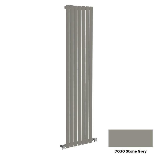Reina Neva Vertical Single Panel Designer Radiator - 1500 x 413mm - Stone Grey