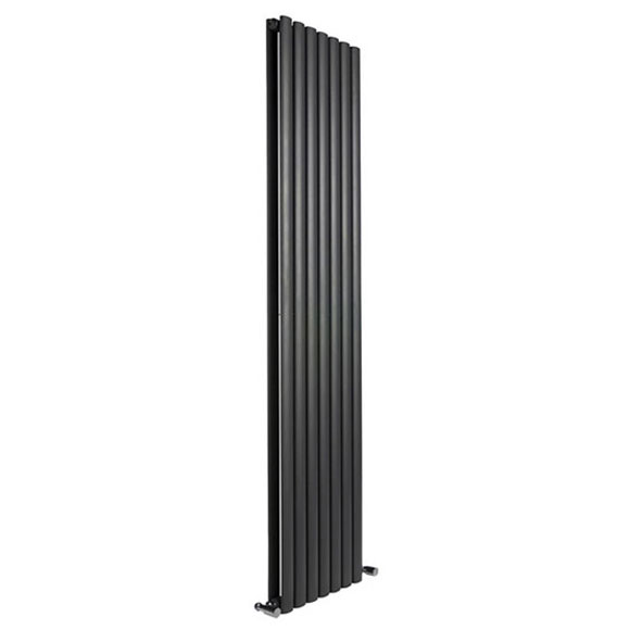 Reina Neva Vertical Double Panel Designer Radiator - Black Large Image
