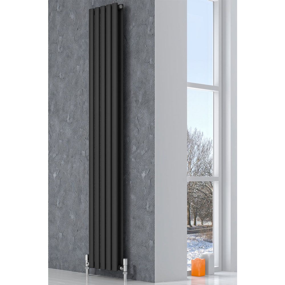 Reina Neva Vertical Double Panel Designer Radiator - Black profile large image view 2