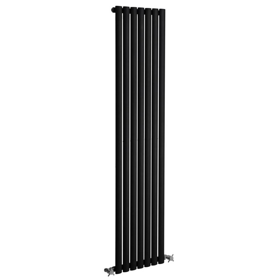 Reina Neva Vertical Single Panel Designer Radiator - Black Large Image