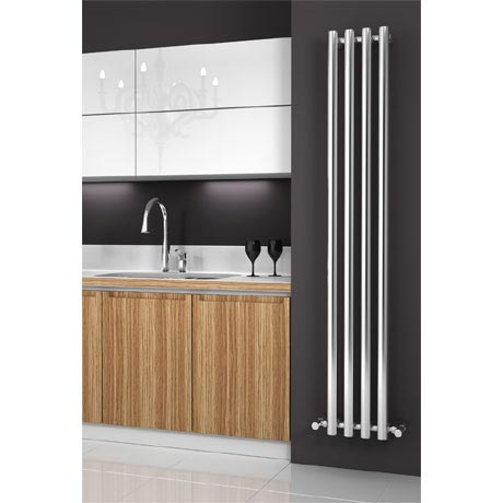 Reina Oria Vertical Steel Designer Radiator - 1800 x 270mm - Chrome
