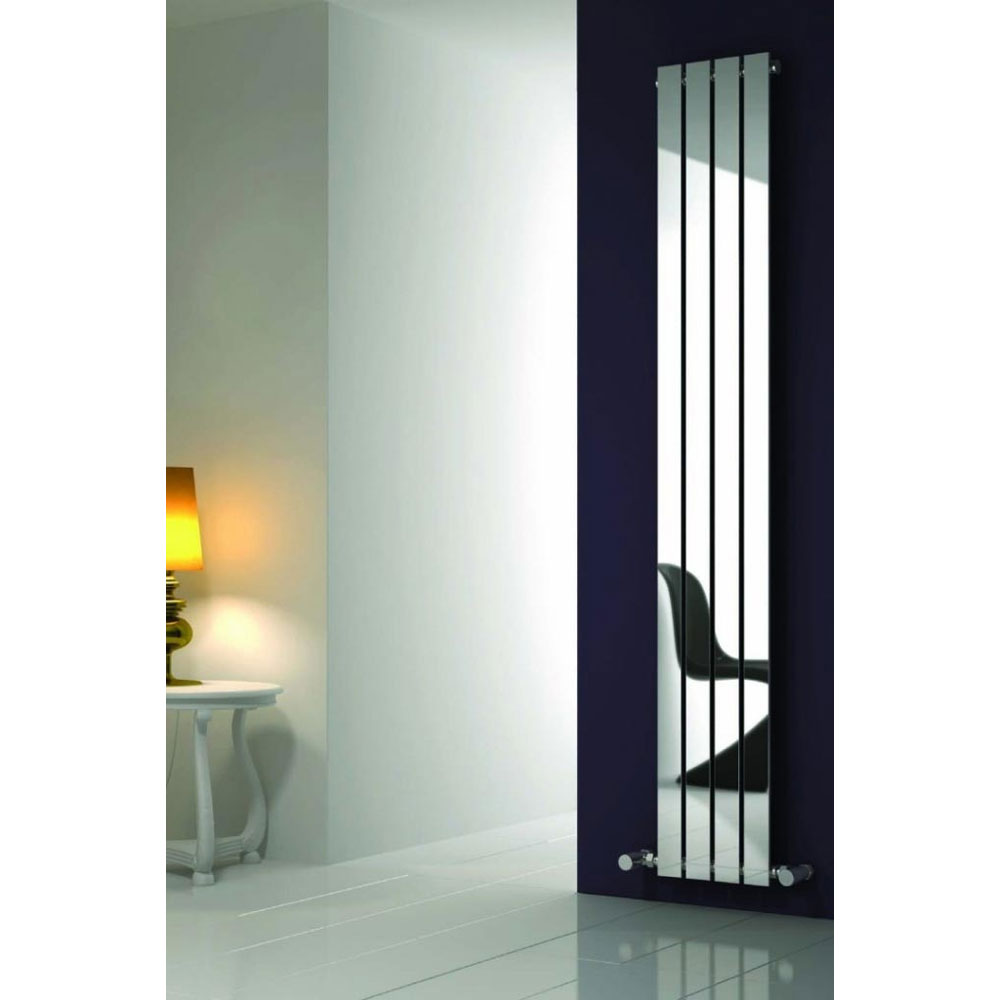 Reina Osimo Vertical Steel Designer Radiator - Chrome profile large image view 2
