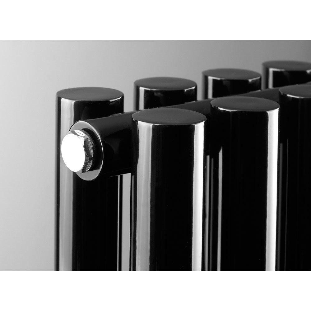 Reina Round Double Panel Steel Designer Radiator - Black profile large image view 4