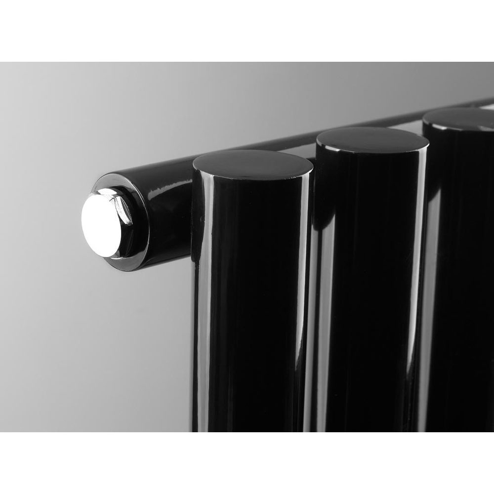 Reina Round Single Panel Steel Designer Radiator - Black profile large image view 3