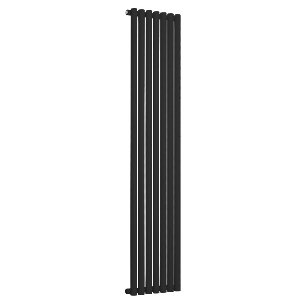 Reina Round Single Panel Steel Designer Radiator - Black