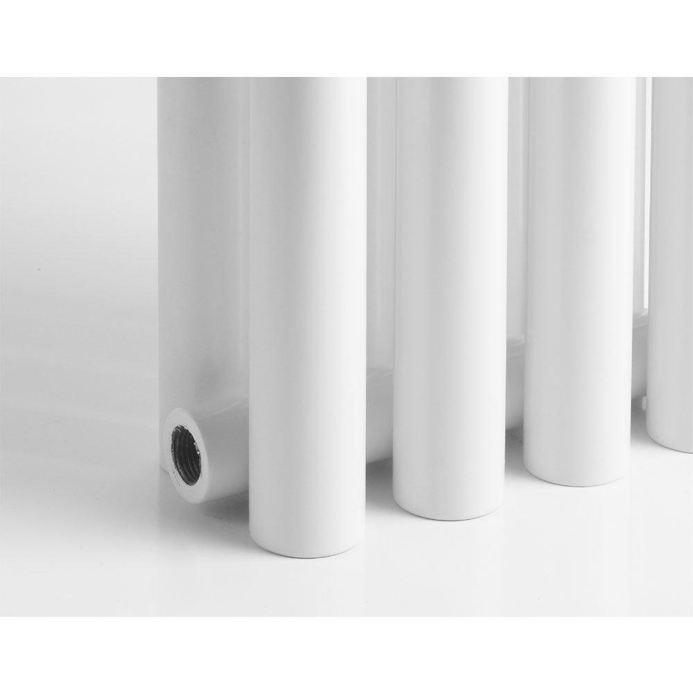 Reina Round Double Panel Steel Designer Radiator - White Feature Large Image