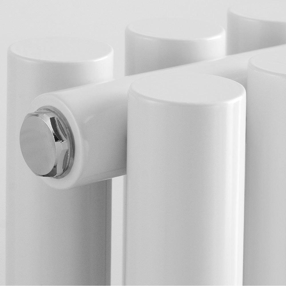 Reina Round Double Panel Steel Designer Radiator - White Standard Large Image