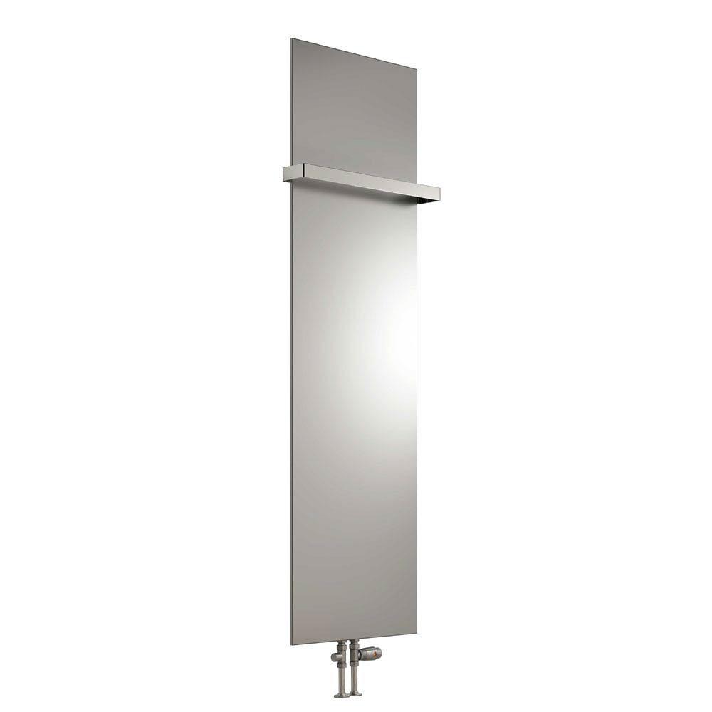 Reina Slimline Vertical Steel Designer Radiator - Silver profile large image view 1