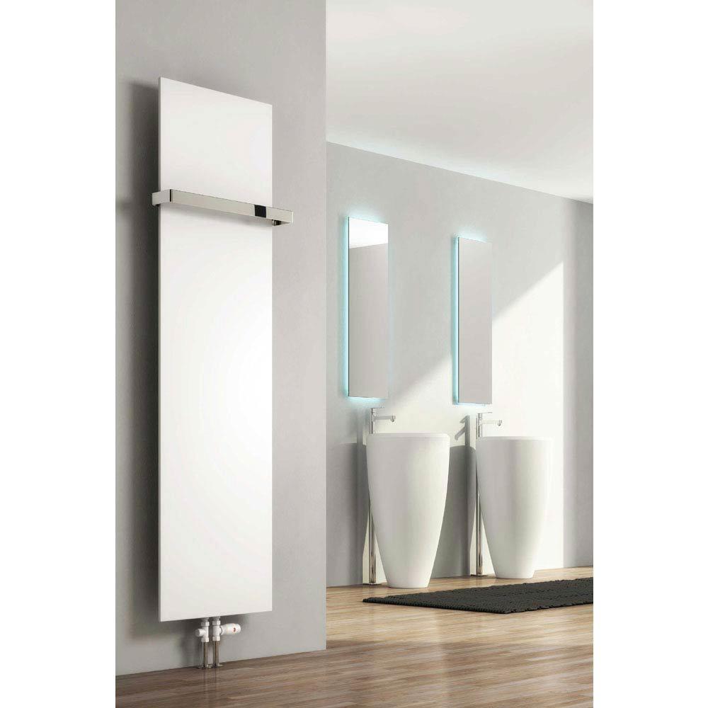 Reina Slimline Vertical Steel Designer Radiator - White profile large image view 1