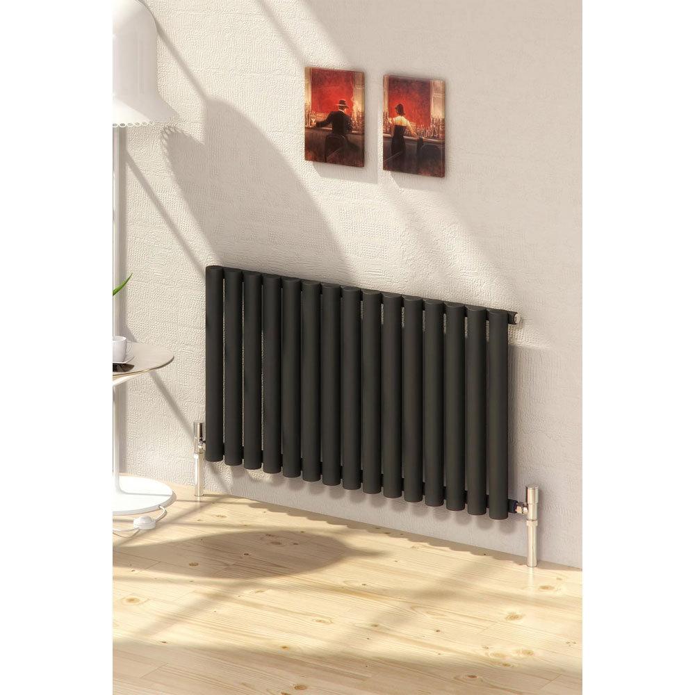 Reina Sena Horizontal Steel Designer Radiator - White profile large image view 2