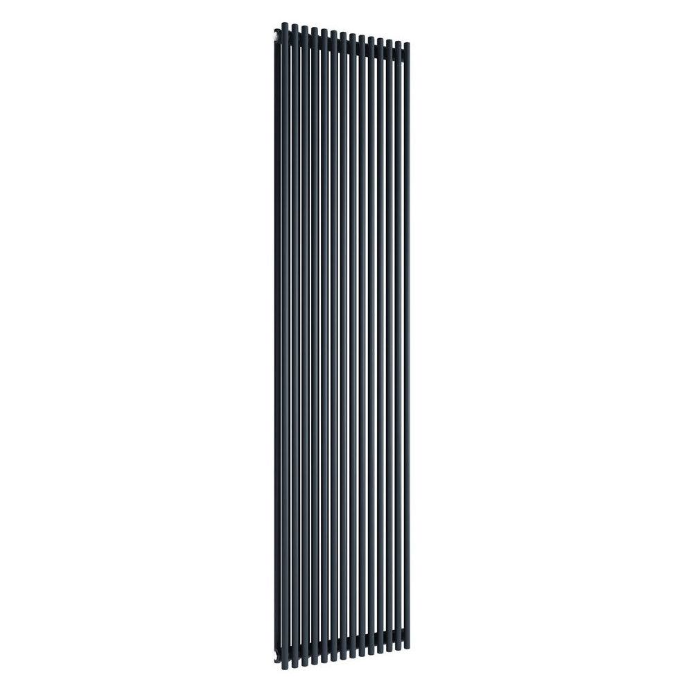 Reina Tubes Double Panel Steel Designer Radiator - 1800 x 350mm - Black Large Image