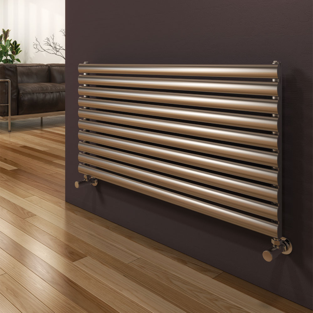 Reina Artena Single Panel Stainless Steel Radiator - Satin Large Image