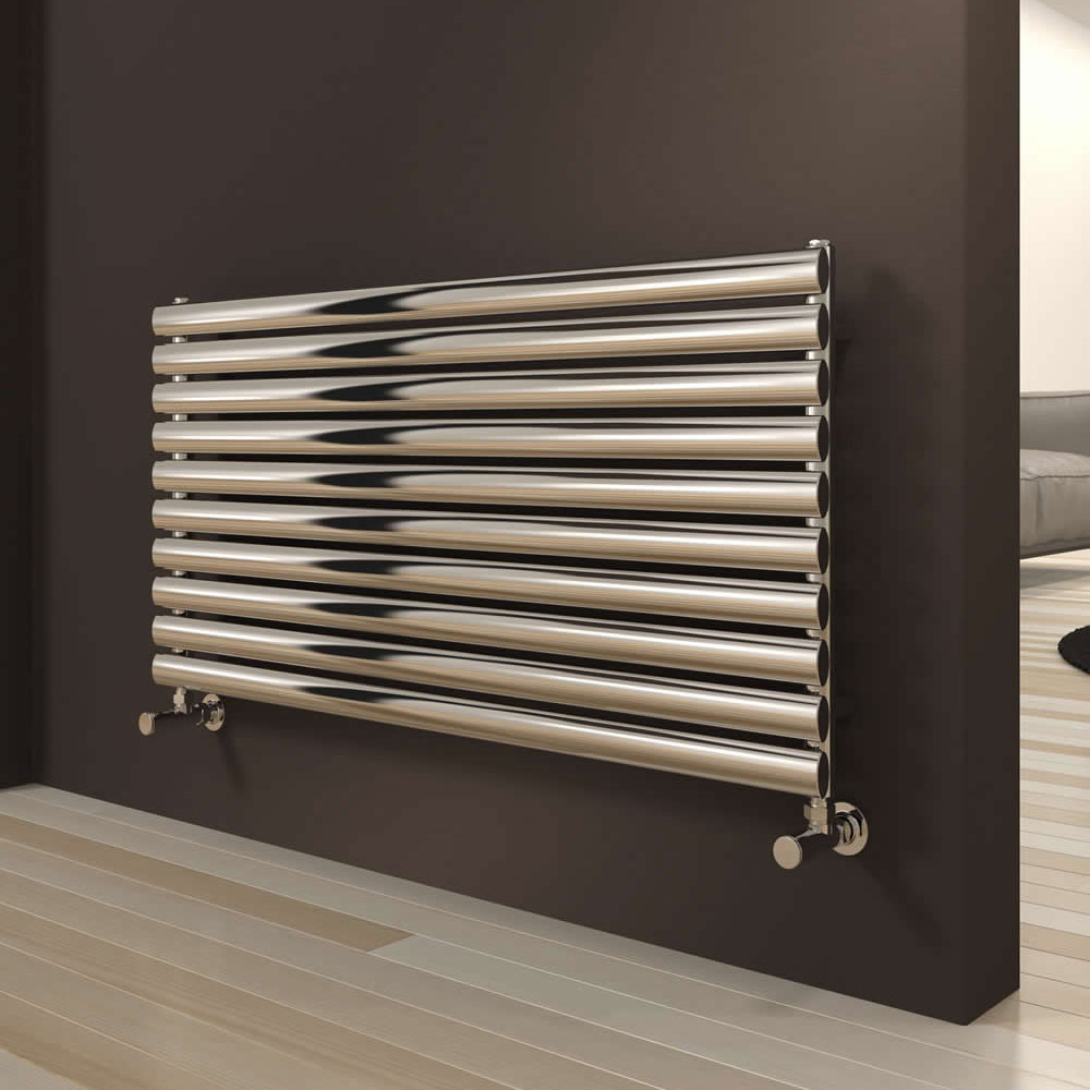 Reina Artena Single Panel Stainless Steel Radiator - 590 x 1200mm - Polished - RNS-AT912P - Positioned against a stunning dark grey bathroom wall