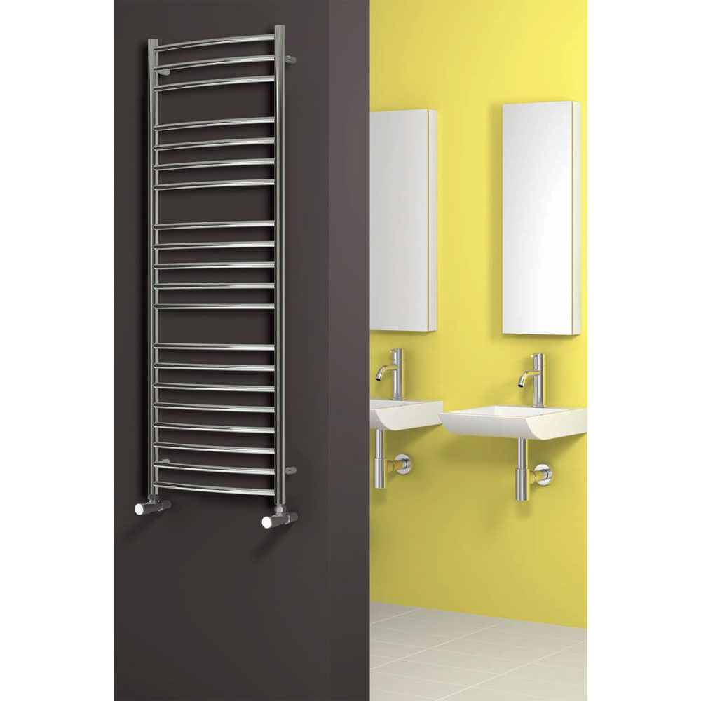 Reina Eos Curved Stainless Steel Radiator - Polished profile large image view 2