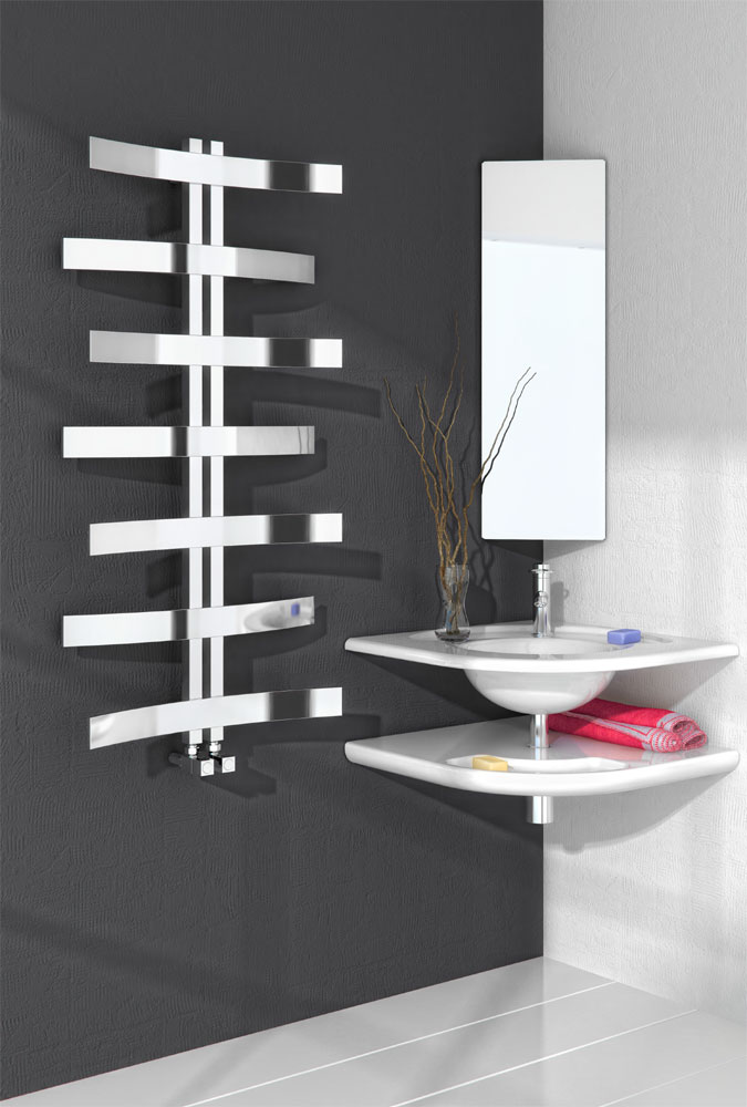 Reina Lioni Stainless Steel Radiator - 1200 x 600mm - Polished profile large image view 1