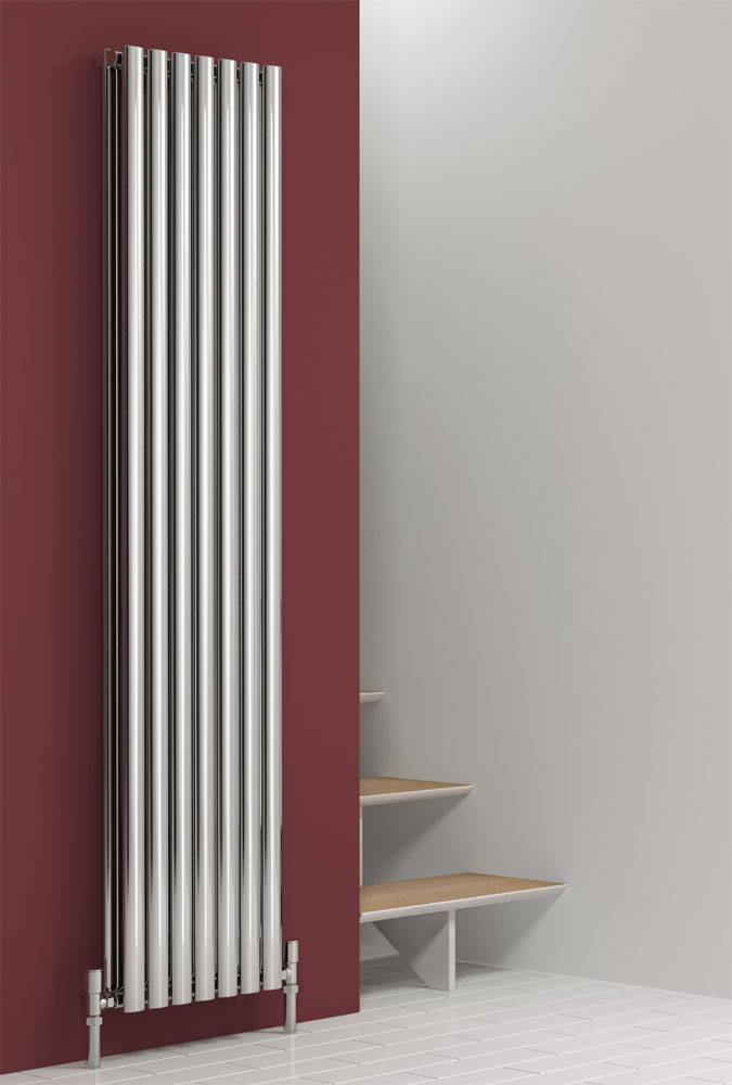 Reina Nerox Vertical Double Panel Stainless Steel Radiator - Polished Large Image
