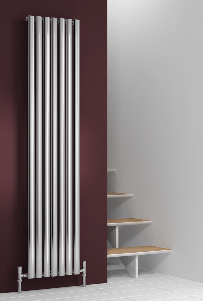 Reina Nerox Vertical Single Panel Stainless Steel Radiator - Polished Large Image
