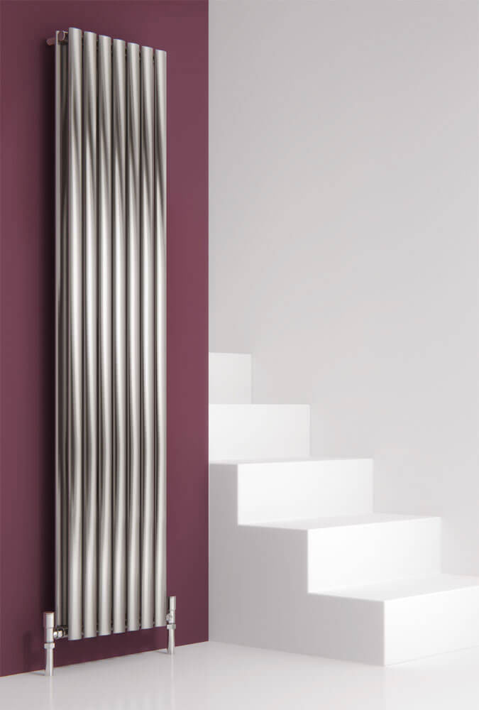 Reina Nerox Vertical Double Panel Stainless Steel Radiator - Satin Large Image