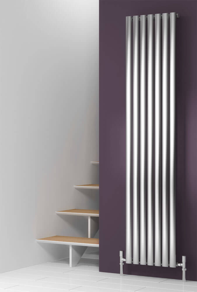 Reina Nerox Vertical Single Panel Stainless Steel Radiator - Satin profile large image view 1
