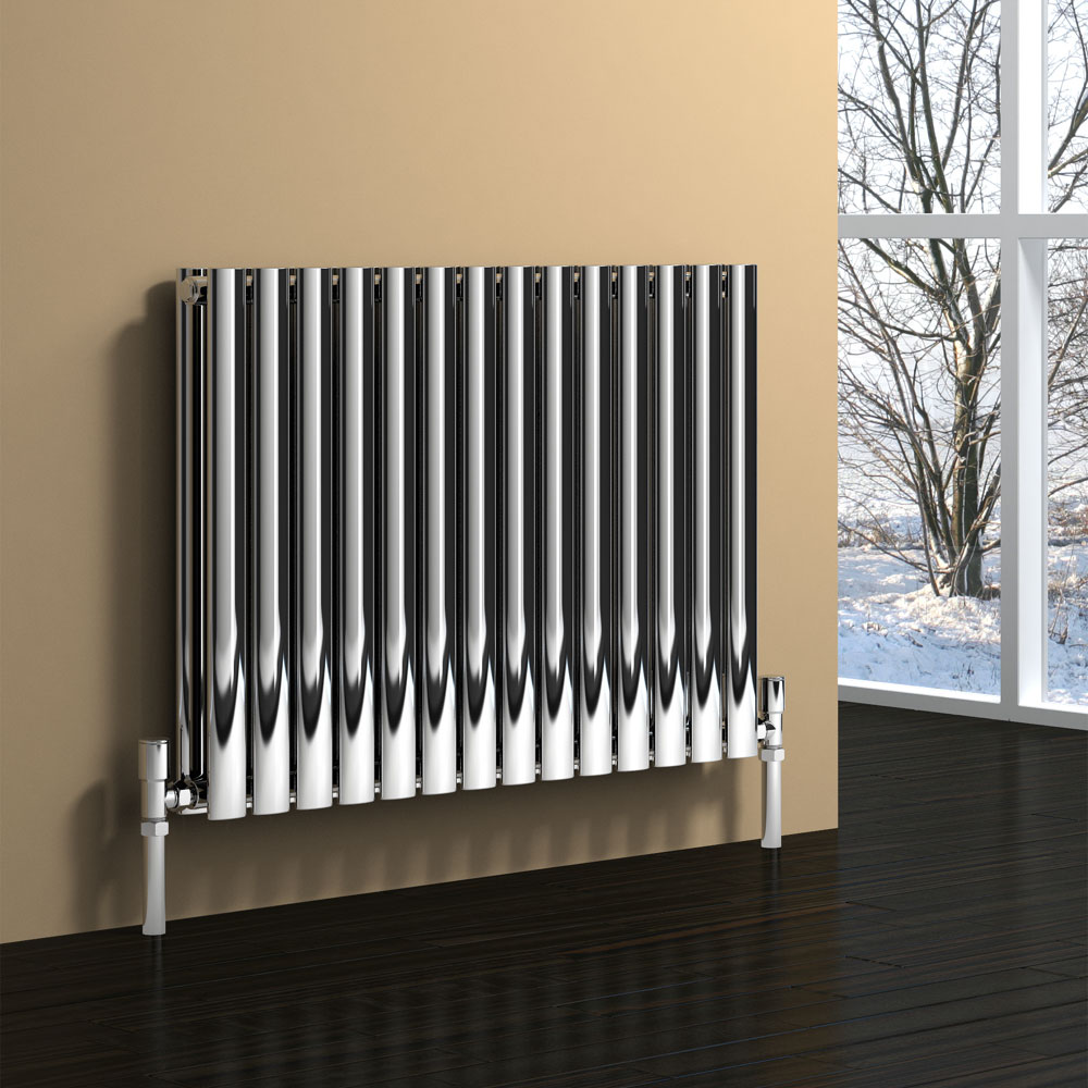 Reina Nerox Horizontal Double Panel Stainless Steel Radiator - Polished Large Image