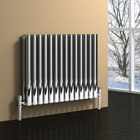 Reina Nerox Horizontal Double Panel Stainless Steel Radiator - Polished