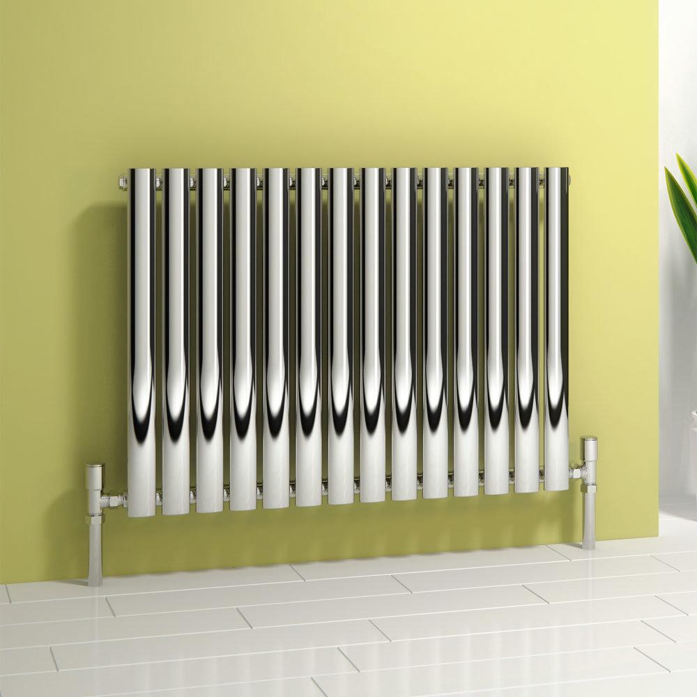 Reina Nerox Horizontal Single Panel Stainless Steel Radiator - Polished Large Image