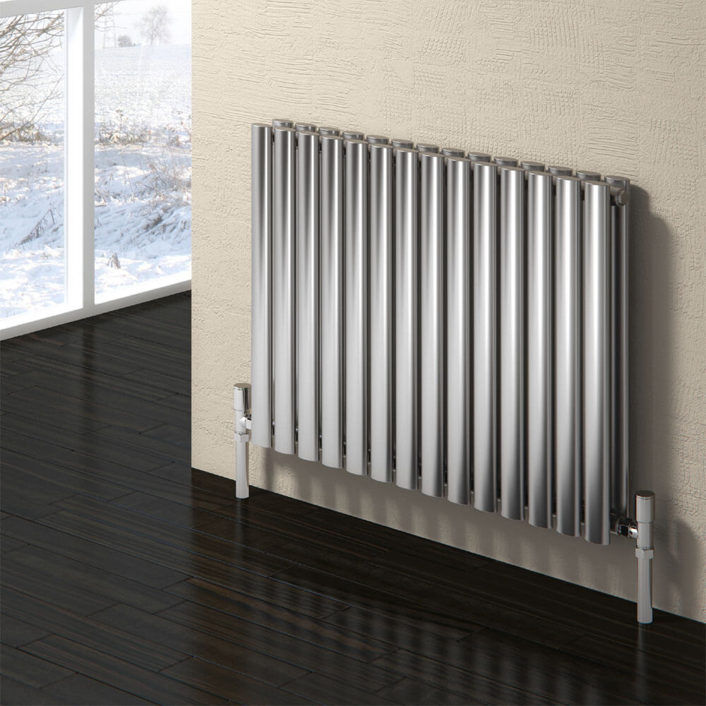 Reina Nerox Horizontal Double Panel Stainless Steel Radiator - Satin profile large image view 1
