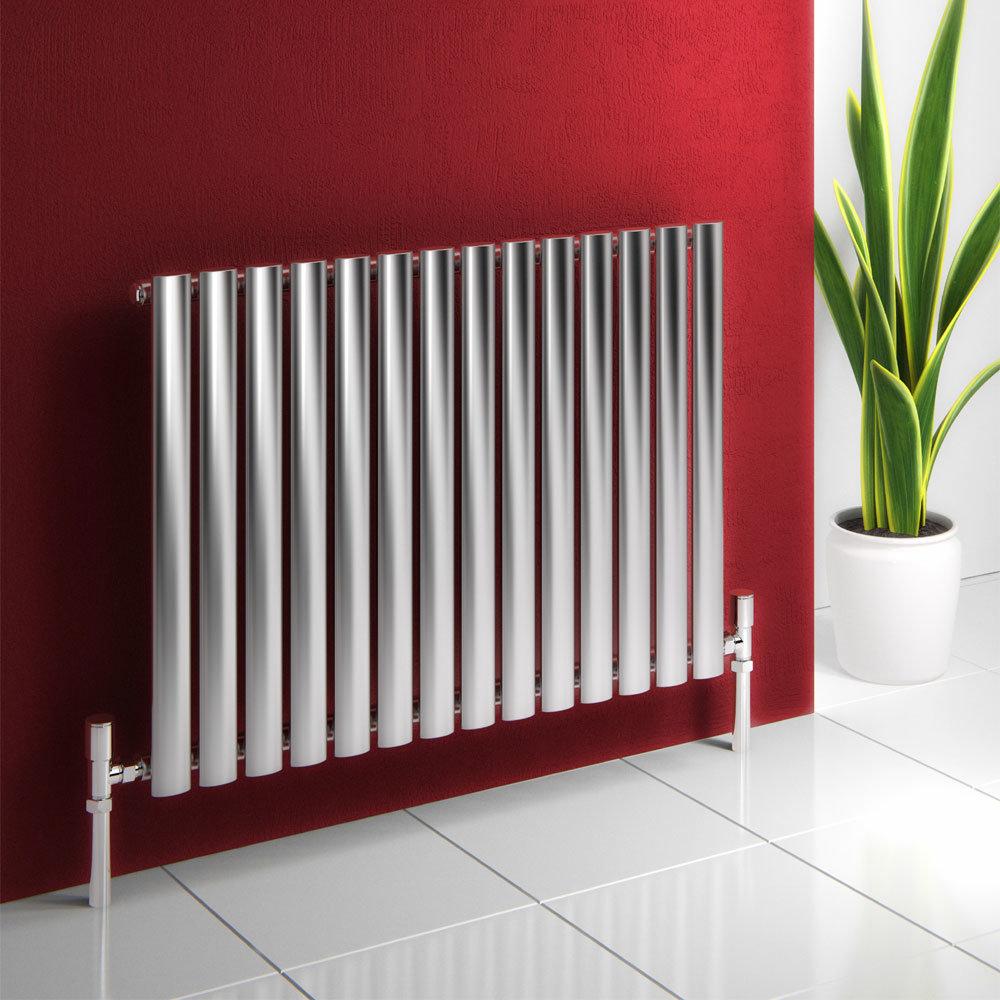 Reina Nerox Horizontal Single Panel Stainless Steel Radiator - Satin Large Image