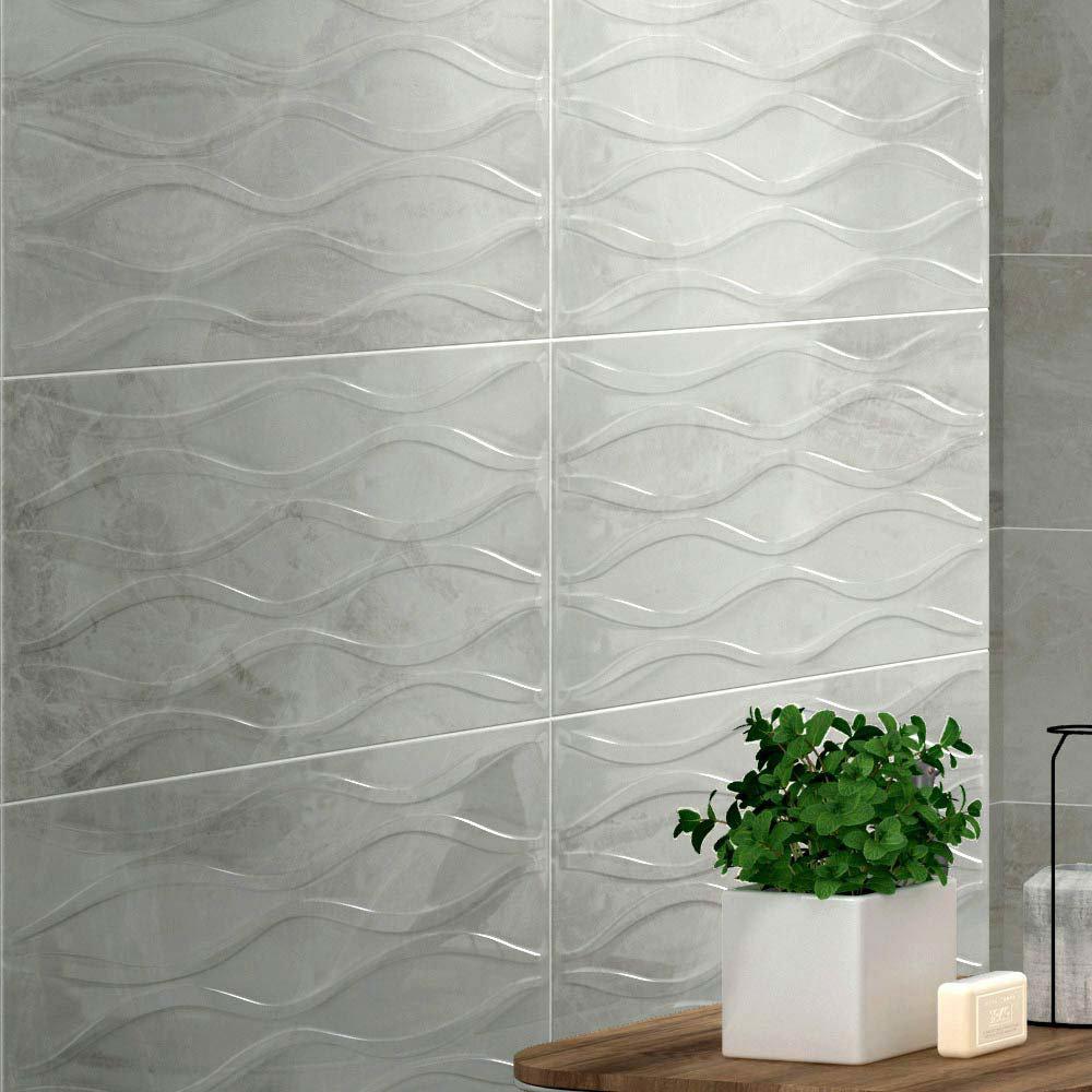 Gio Bone Gloss Marble Effect Decor Wall Tiles - 30 x 60cm Large Image