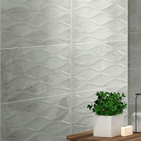 Gio Bone Gloss Marble Effect Decor Wall Tiles - 30 x 60cm