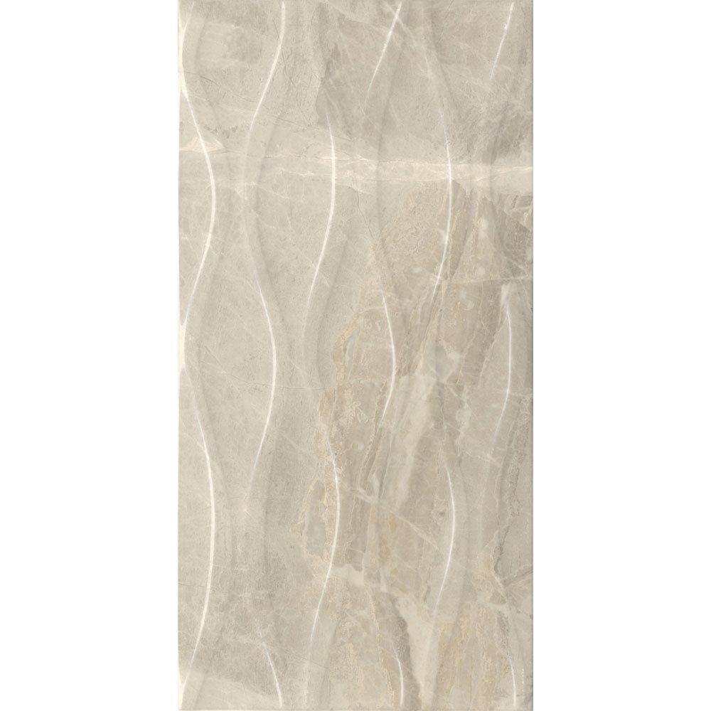 Gio Beige Gloss Marble Effect Decor Wall Tiles - 30 x 60cm Large Image