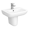 Nuie Renoir Compact Basin & Semi Pedestal - 1 Tap Hole profile small image view 1