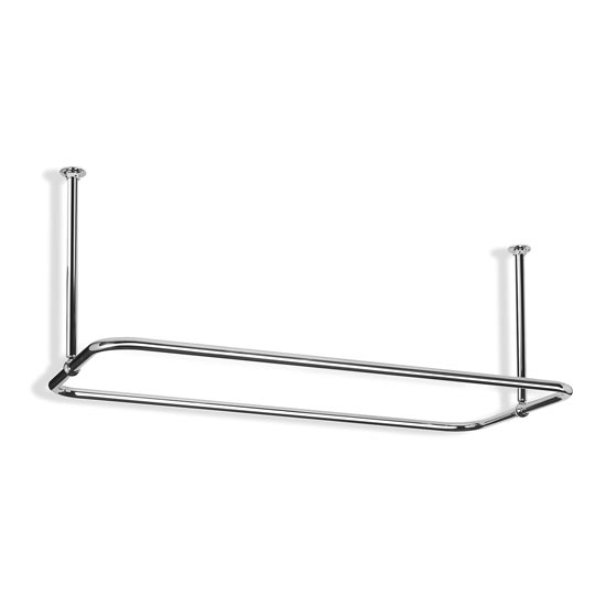 Rectangular Shower Curtain Rail - Nickel - 2 Size Options Large Image