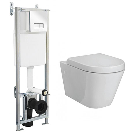 RAK Resort Wall Hung Rimless Pan Inc. Dual Flush Concealed WC Cistern with Frame