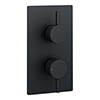 Arezzo Round Modern Twin Concealed Shower Valve - Matt Black profile small image view 1