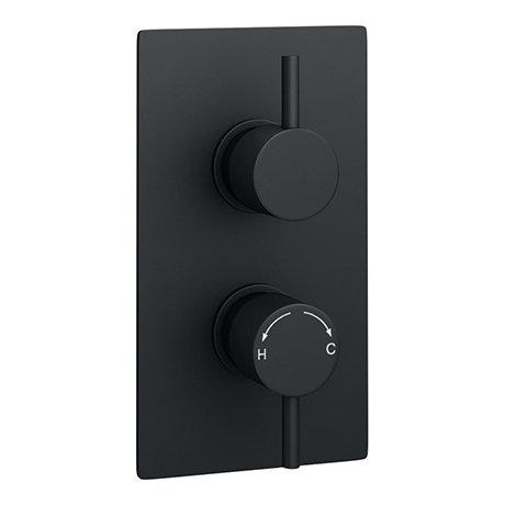 Arezzo Round Modern Twin Concealed Shower Valve - Matt Black