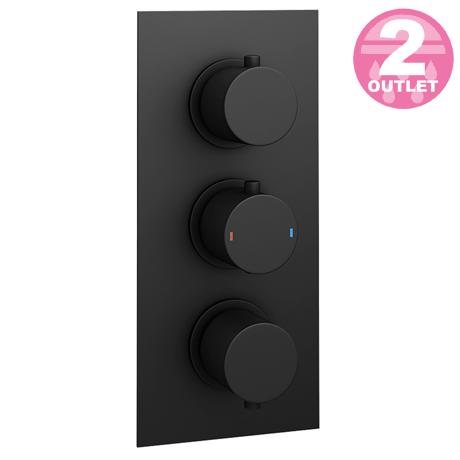 Arezzo Round Modern Triple Concealed Shower Valve - Matt Black