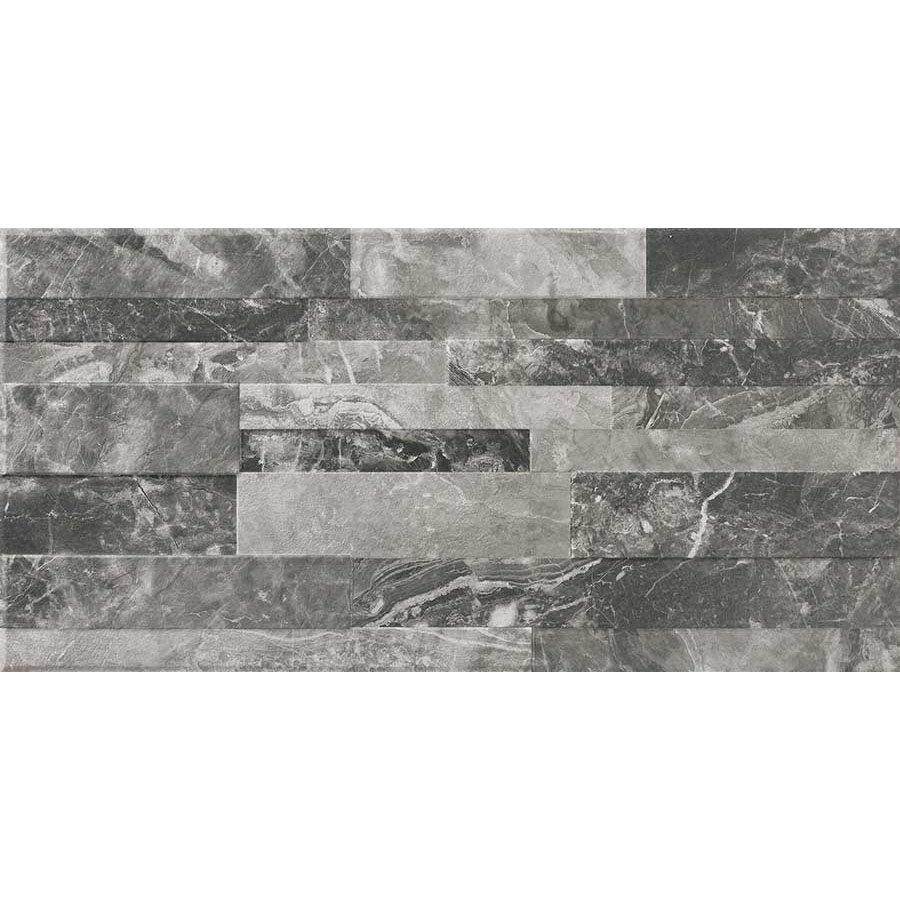 Runda Black Marble Split Face Tiles - 303 x 613mm