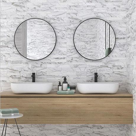 Runda White Marble Split Face Tiles - 303 x 613mm