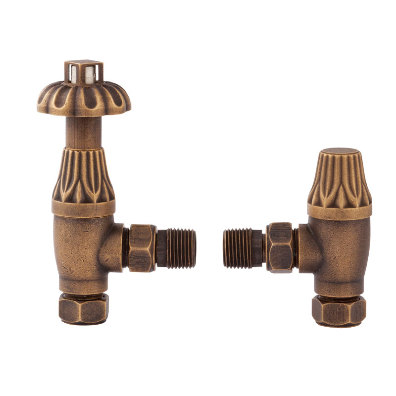 Hudson Reed - Traditional Angled Radiator Valves - Antique Brass - RV006 Large Image