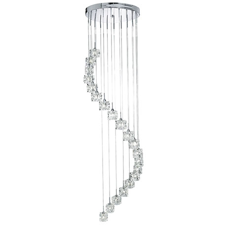 Revive Spiral Chrome LED Crystal Cubes Light Fitting