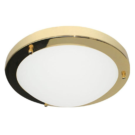Revive Brass Small LED Flush Bathroom Ceiling Light