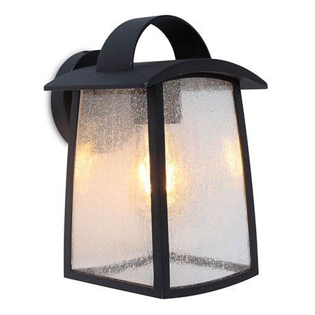 Revive Outdoor Matt Black Wall Light with Seeded Glass Diffuser