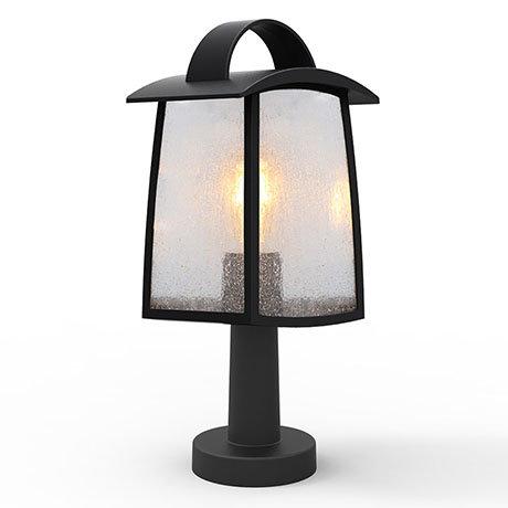 Revive Outdoor Matt Black Pedestal Light with Seeded Glass Diffuser
