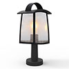 Revive Outdoor Matt Black Pedestal Light with Seeded Glass Diffuser profile small image view 1