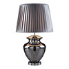 Revive Smoked Glass Table Lamp with Grey Pleated Shade profile small image view 1