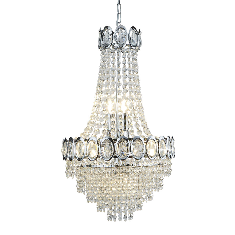 Revive Chrome Crystal Chandelier - 6 Light